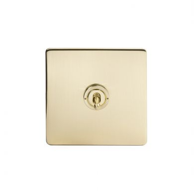 24k Brushed Brass 1 Gang 2 Way Toggle Switch with Black Insert
