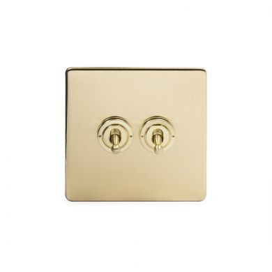 24k Brushed Brass 2 Gang 2 Way Toggle Switch with Black Insert