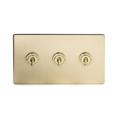 24k Brushed Brass 3 Gang 2 Way Toggle Switch with Black Insert