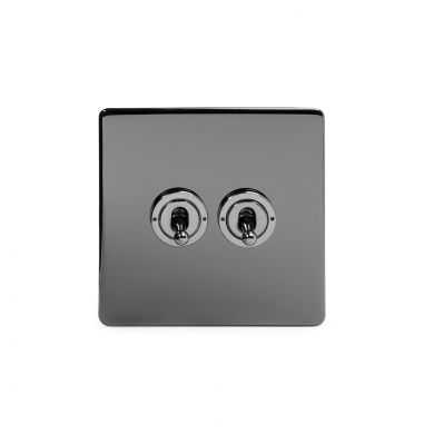 Black Nickel 2 Gang 2 Way Toggle Switch with Black Insert