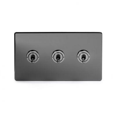 Soho Lighting Black Nickel 3 Gang 20 Amp Intermediate Toggle Switch Screwless