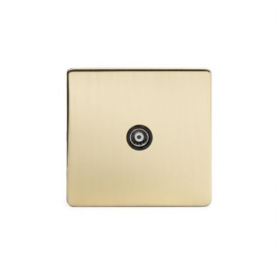 24k Brushed Brass 1 Gang Co Axial and Satelite Socket with Black Insert