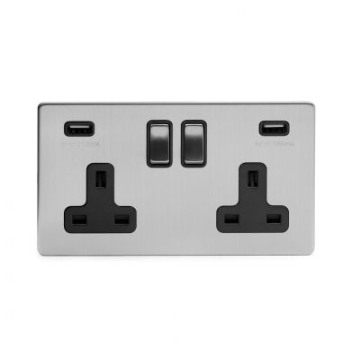 Brushed chrome 2 gang USB socket