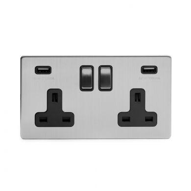 Brushed chrome 2 gang USB socket
