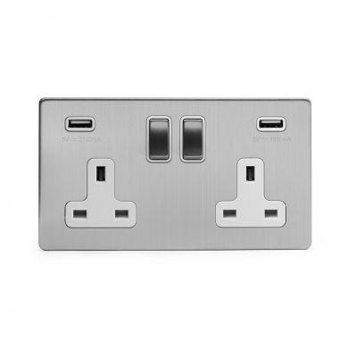 2 gang brushed chrome USB socket with white