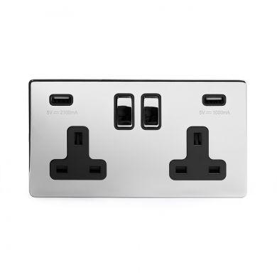 Polished Chrome Double USB Socket