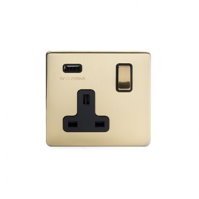 1 gang brushed brass usb socket