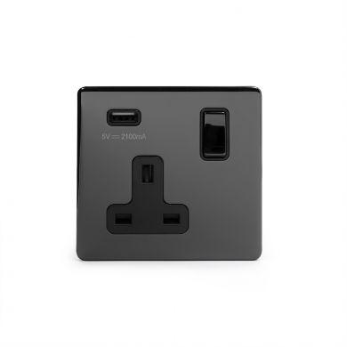 Black Nickel USB Socket