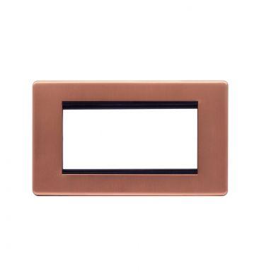 Lieber Brushed Copper Double Data Plate 4 Modules - Black Insert Screwless