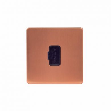 Lieber Brushed Copper 13A UnSwitched Fused Connection Unit (FCU) - Black Insert Screwless