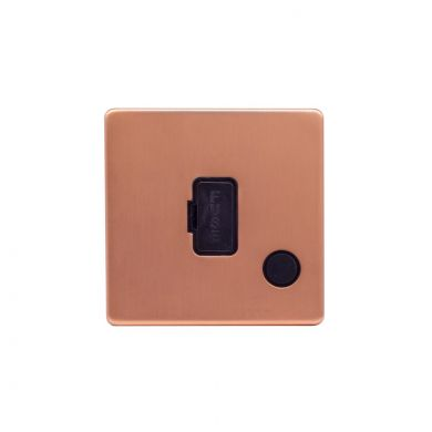 Lieber Brushed Copper 13A Unswitched Fused Connection Unit (FCU) Flex Outlet - Black Insert Screwless