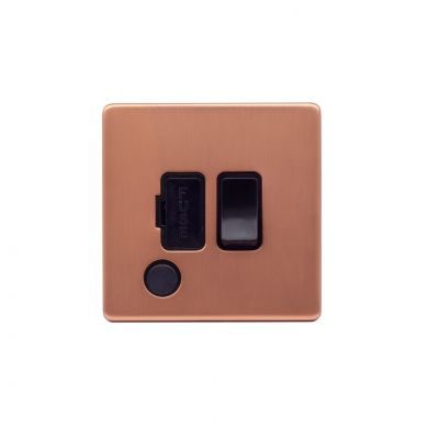 Lieber Brushed Copper 13A Switched Fused Connection Unit (FCU) Flex Outlet - Black Insert Screwless