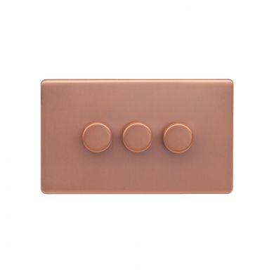 Lieber Brushed Copper 3 Gang 2 Way Intelligent Trailing Dimmer Screwless 100W LED (250w Halogen/Incandescent)