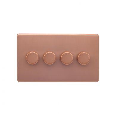 Lieber Brushed Copper 4 Gang 2 Way Intelligent Trailing Dimmer Screwless 100W LED (250w Halogen/Incandescent)