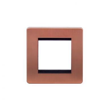 Lieber Brushed Copper Single Data Plate 2 Modules - Black Insert Screwless