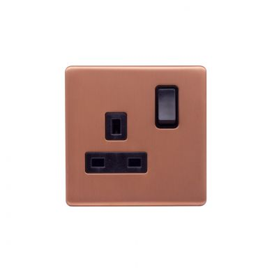 Lieber Brushed Copper 13A 1 Gang Switched Socket, Double Pole - Black Insert Screwless