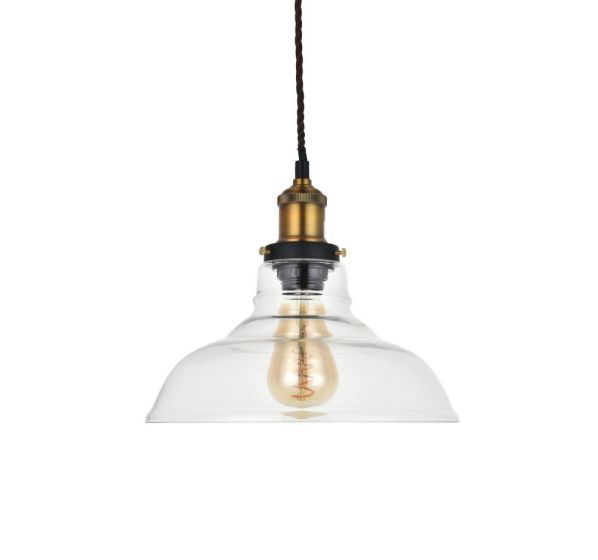 Romilly Edison Industrial Clear Glass Step Breakfast Bar Pendant Light