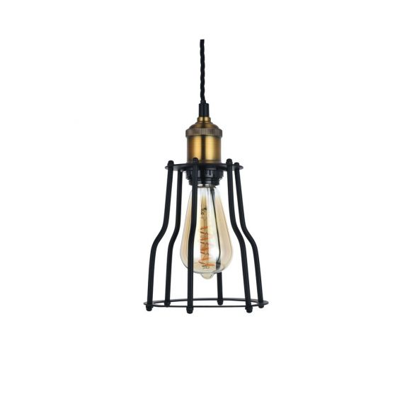 Denman Cone Industrial Black Cage Pendant Light - Soho Lighting