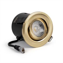 Brushed Brass Tiltable Adjustable 4K Fire Rated LED 6W IP44 Dimmable Downlight