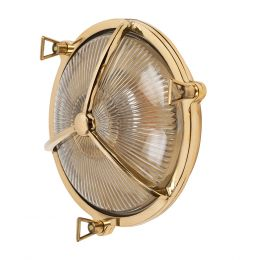 Carlisle Lacquered Brass IP66 Half Cover Prismatic Glass Outdoor & Bathroom Wall Light