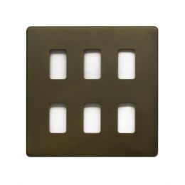 Soho Lighting Bronze 6 Gang Grid Plate Screwless