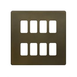 Soho Lighting Bronze 8 Gang Grid Plate Screwless