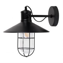 Broadwick Flat Black Caged Indoor Nautical Wall Light