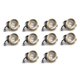 10 Pack - Antique Brass Fixed CCT Fire Rated LED Dimmable 10W IP65 Downlight