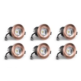6 Pack - Antique Copper CCT Fire Rated LED Dimmable 10W IP65 Downlight