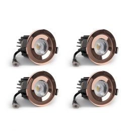 4 Pack - Rose Gold CCT Fire Rated LED Dimmable 10W IP65 Downlight