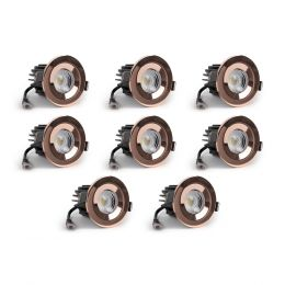 8 Pack - Rose Gold CCT Fire Rated LED Dimmable 10W IP65 Downlight