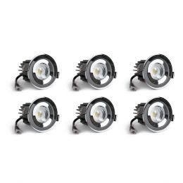 6 Pack - Polished Chrome CCT Fire Rated LED Dimmable 10W IP65 Downlight