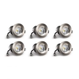 6 Pack - Brushed Chrome CCT Fire Rated LED Dimmable 10W IP65 Downlight