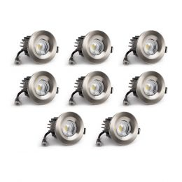 8 Pack - Brushed Chrome CCT Fire Rated LED Dimmable 10W IP65 Downlight