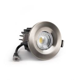 Brushed Chrome Fire Rated Fixed LED Downlights Dimmable