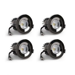 4 Pack - Black Nickel CCT Fire Rated LED Dimmable 10W IP65 Downlight