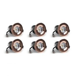 6 Pack - Polished Copper CCT Fire Rated LED Dimmable 10W IP65 Downlight