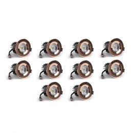 10 Pack - Polished Copper CCT Fire Rated LED Dimmable 10W IP65 Downlight