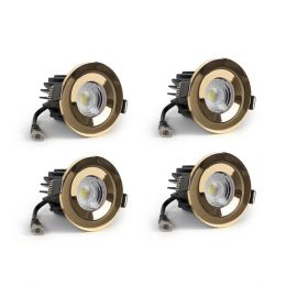 4 Pack - Polished Brass CCT Fire Rated LED Dimmable 10W IP65 Downlight