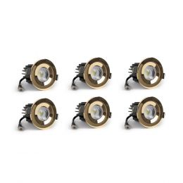 6 Pack - Polished Brass CCT Fire Rated LED Dimmable 10W IP65 Downlight
