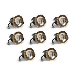 8 Pack - Polished Brass CCT Fire Rated LED Dimmable 10W IP65 Downlight