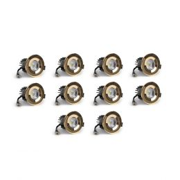 10 Pack - Polished Brass CCT Fire Rated LED Dimmable 10W IP65 Downlight