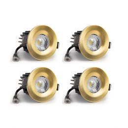 4 Pack - Brushed Gold CCT Fire Rated LED Dimmable 10W IP65 Downlight