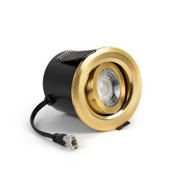 Brushed Gold Fire Rated Tiltable LED Downlights Dimmable