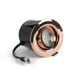 Brushed Copper Fire Rated Tiltable LED Downlights Dimmable