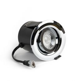 Polished Chrome Fire Rated Tiltable LED Downlights Dimmable