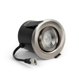 Brushed Chrome Fire Rated Tiltable LED Downlights Dimmable