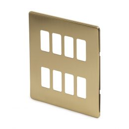 8 gang grid switch plate brushed brass