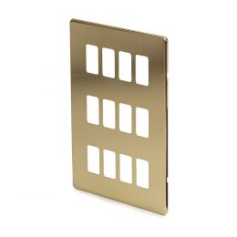 Brushed Brass 12 Gang Switch Plate