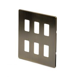 Soho-Lighting-Antique-Brass-6-Gang-Grid-Plate